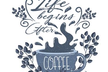 做旧效果咖啡艺术字矢量素材