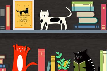 创意书架和猫咪矢量素材