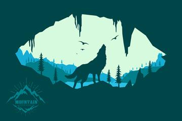 创意山间嚎叫的野狼剪影矢量图