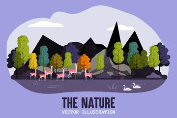 ��意山林鹿群自然�L景矢量素材