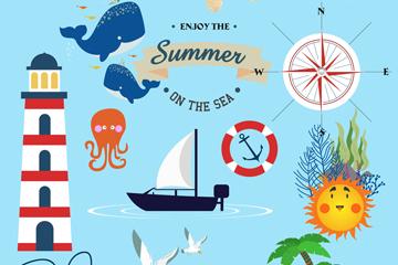 18款��意夏季海洋元素矢量素材