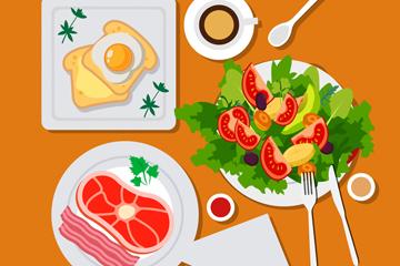 美味早餐俯视图设计矢量素材