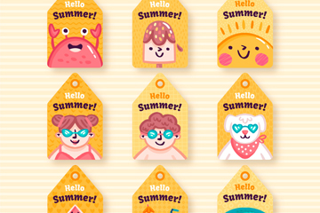 9款可爱夏季元素吊牌矢量素材