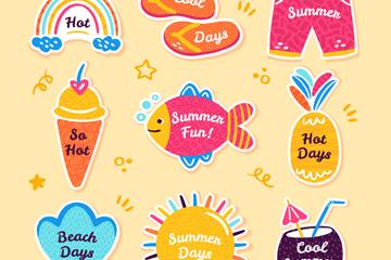 9款彩色夏季度假贴纸矢量素材