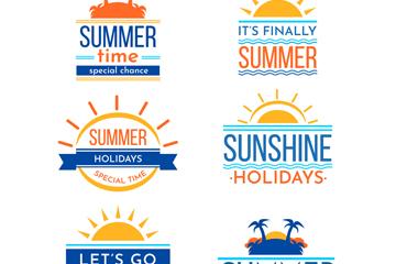 6款彩色夏季度假标签矢量素材