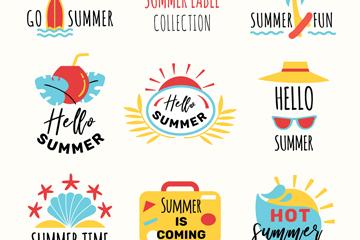 9款��意夏季旅行�撕�矢量素材