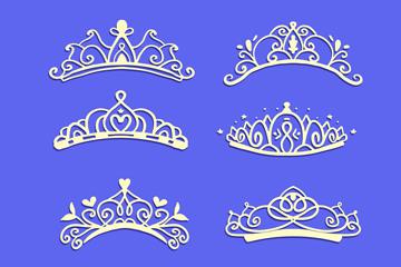 6款美��公主王冠矢量素材
