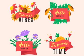 4款彩色夏季花卉�撕�矢量�D
