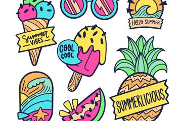 7款彩色夏季元素�O�矢量�D