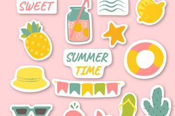 15款彩色夏季�N�矢量素材