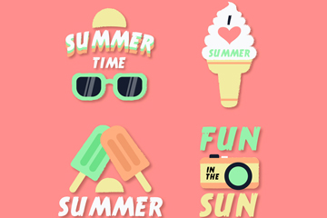 4款精致夏季元素徽章矢量�D