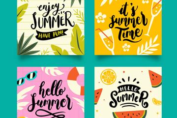 4款彩色正方形夏季卡片矢量素材