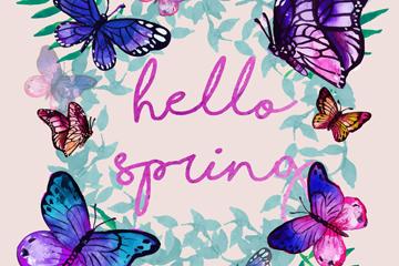 水彩绘春季蝴蝶框架矢量素材