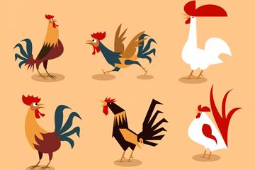 9款创意鸡设计矢量素材