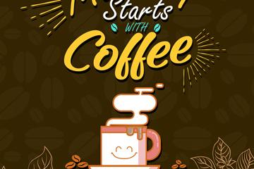 创意早餐咖啡海报矢量素材