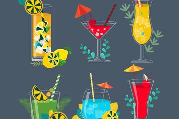 6款彩色夏季鸡尾酒设计矢量素材