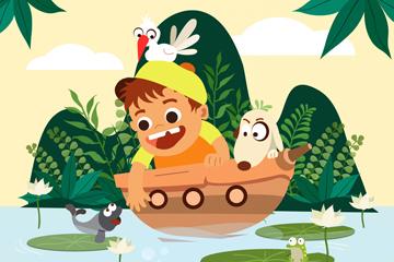 卡通池塘乘船玩耍的男孩矢量素材