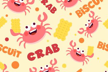 可爱螃蟹和饼干无缝背景矢量图