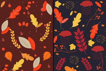 2款彩色秋季树叶无缝背景矢量图