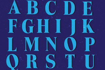 26个蓝色字母设计矢量素材