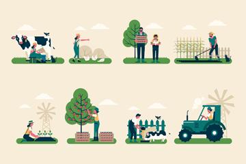 12组创意农夫工作场景矢量图