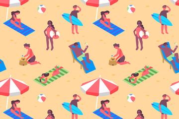 创意沙滩度假人物无缝背景矢量图