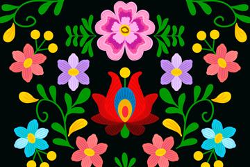彩色抽象花卉矢量素材