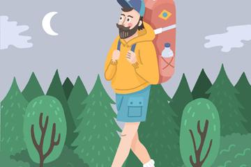 创意背包旅行男子设计矢量素材