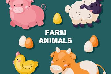 4款创意动物贴纸矢量素材
