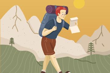 创意边走边看地图的背包客矢量图