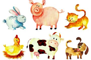 6款水彩绘农场动物矢量素材