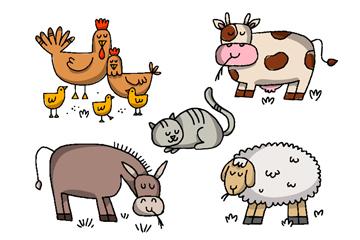 5款可爱农场动物矢量素材
