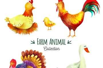 5款彩绘农场动物矢量素材