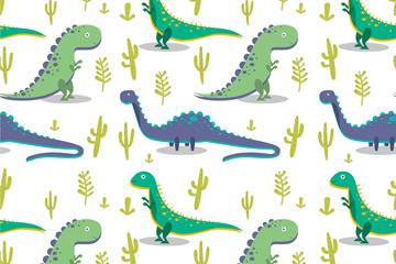 创意呆萌恐龙无缝背景矢量图