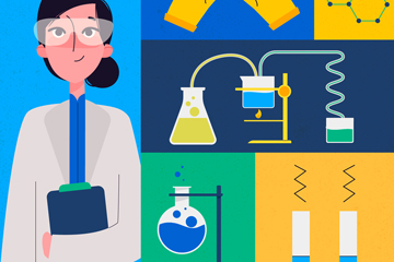 创意女科学家和5款实验器材矢量