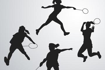4款创意羽毛球女子剪影矢量图