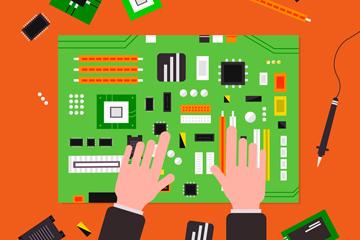 创意组装电脑主板手臂矢量素材