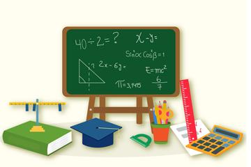 创意黑板和文具设计矢量素材