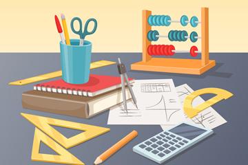 创意桌子上的数学用文具矢量图