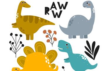 4款创意恐龙设计矢量素材