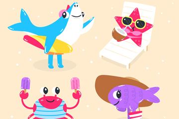 4款可爱夏季表情动物矢量图