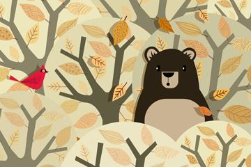 可爱树林中的黑熊矢量素材