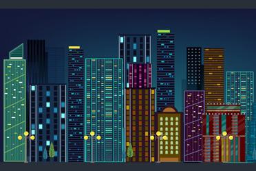 ��意夜晚都市建筑矢量素材