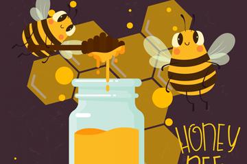 可爱蜜蜂和蜂蜜矢量素材