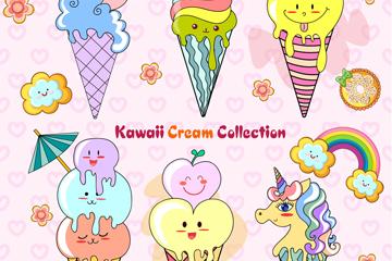 6款可爱夏季冰淇淋矢量素材