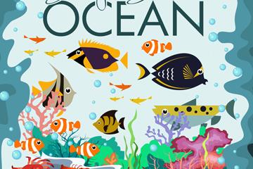 创意深海动物风景矢量素材