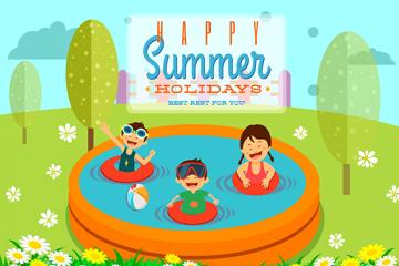 卡通夏季玩水的�和�矢量素材