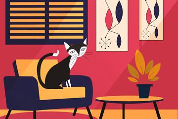 时尚客厅和猫咪矢量素材