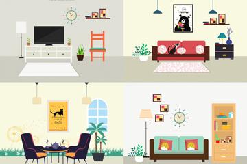 4款创意客厅内部设计矢量素材