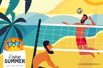 创意海边打沙滩排球的男子矢量图